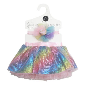 Baby Girl Unicorn Tutu Skirt, Headband, Barefoot Sandals Set