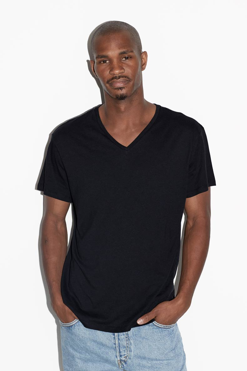 RAW Black V-neck T-shirt