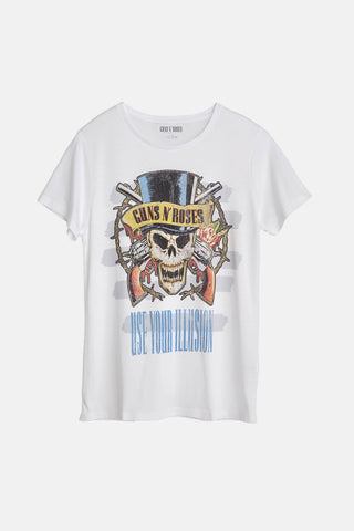 Guns N' Roses Skull Print White Women's T-Shirt