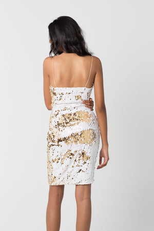 White & Gold Sequined Dress