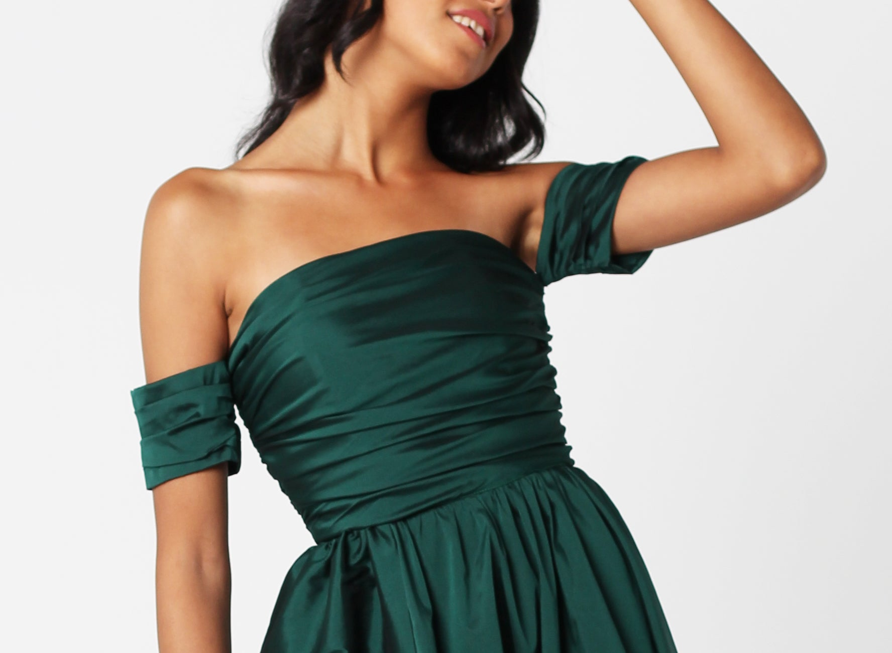 Emerald Silk Taffeta Dress