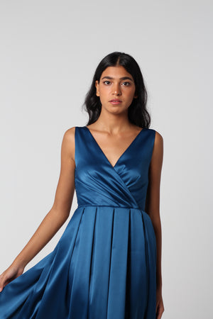 Deep Blue Pleated V Dress