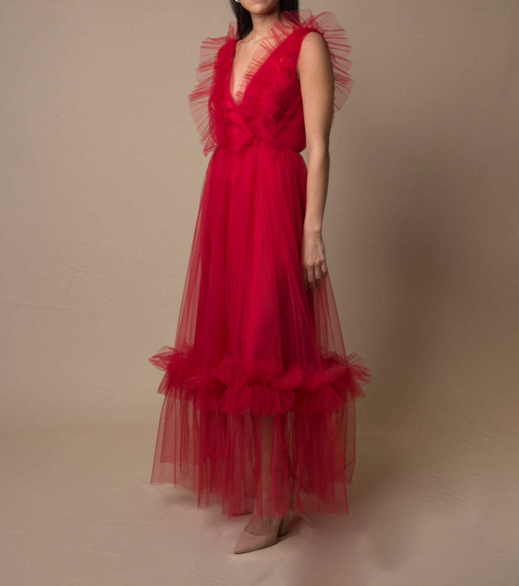 Red Tulle Ruffled Dress