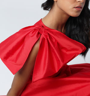 Red Bow Taffeta Top