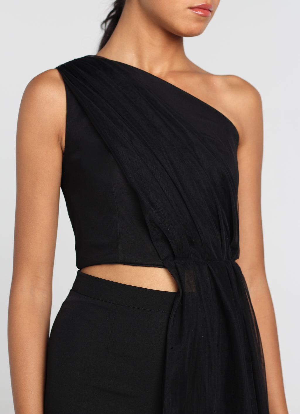 Black Draped Tulle Top