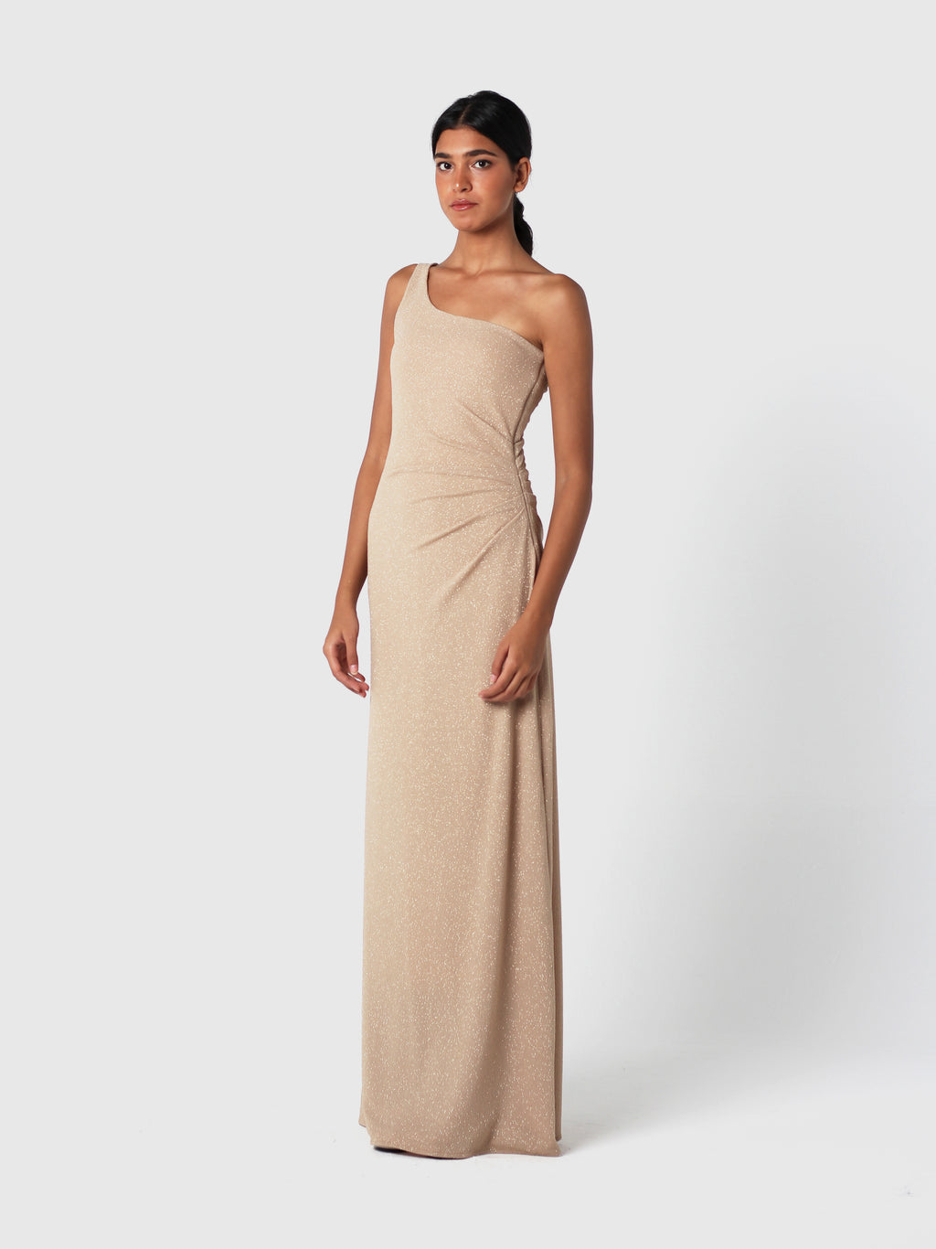 One-shoulder Gold Draped Gown