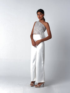 Silver Sequined Draped Set