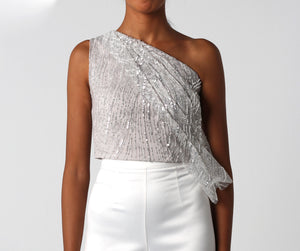 Silver Sequined Draped Top