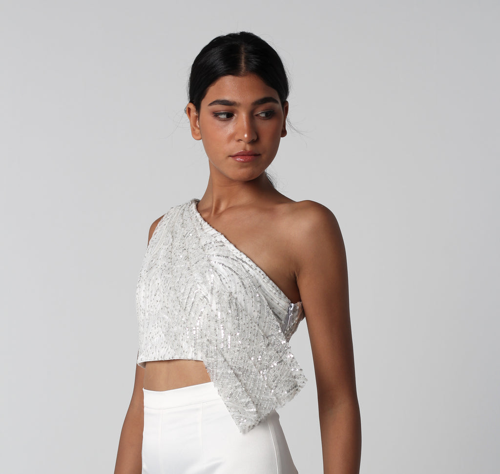 Off-White Sequined Draped Top