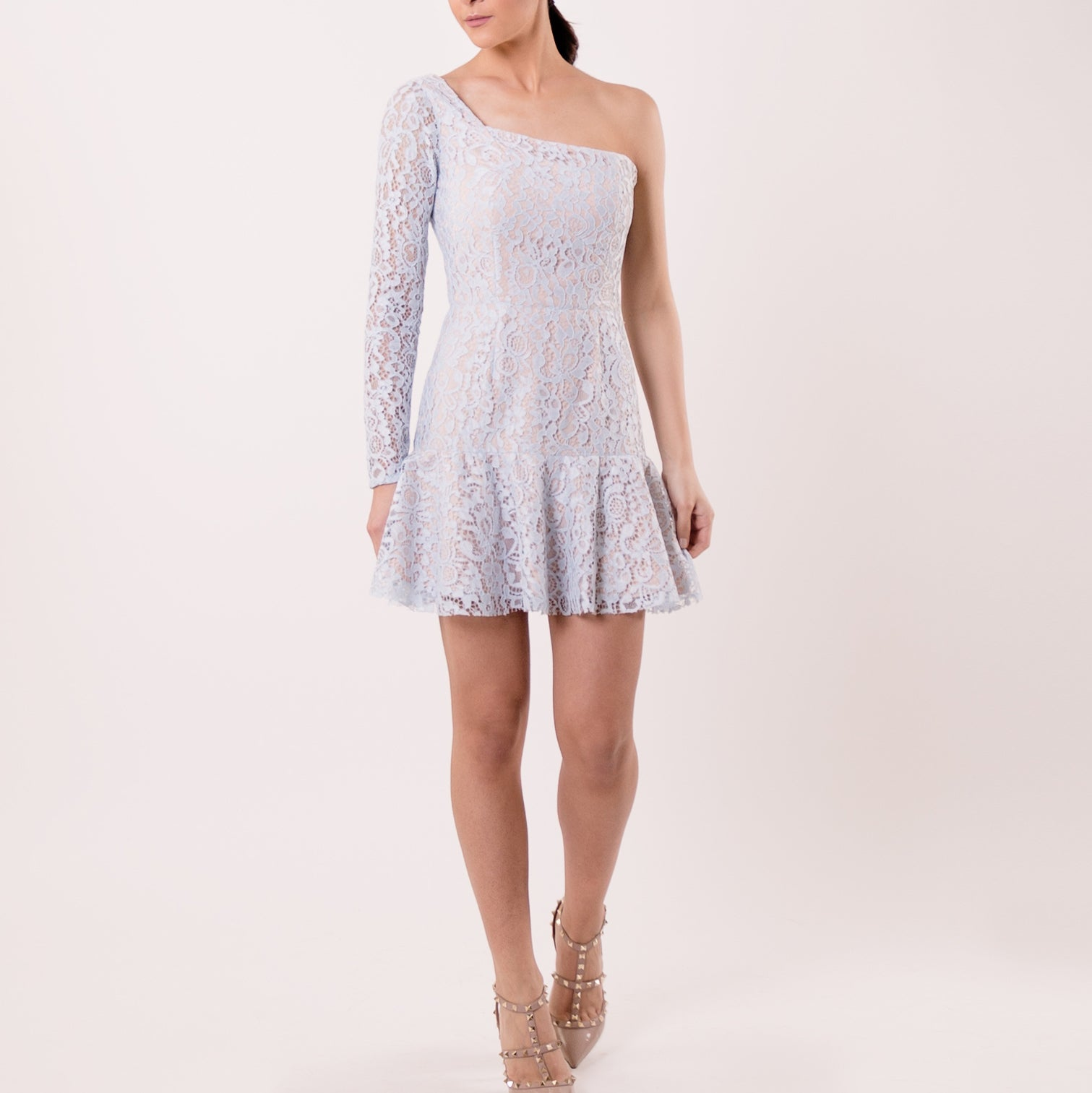 Light Blue One-Shoulder Lace Ruffled Dress