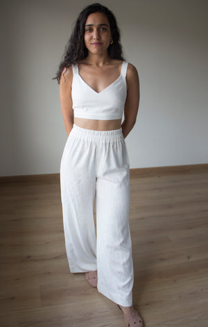 Nour's Linen White Crop Top