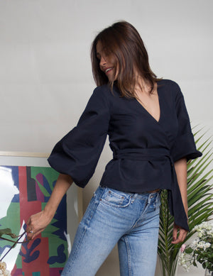 Pansy Navy Blue Wrap Top