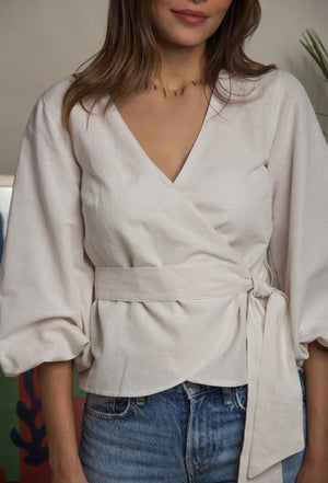 Pansy Beige Wrap Top