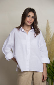 White loose fit button-up shirt