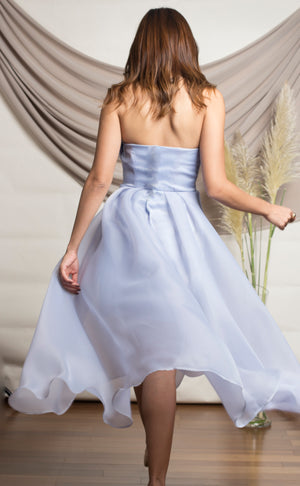 Blue Draped Organza Dress