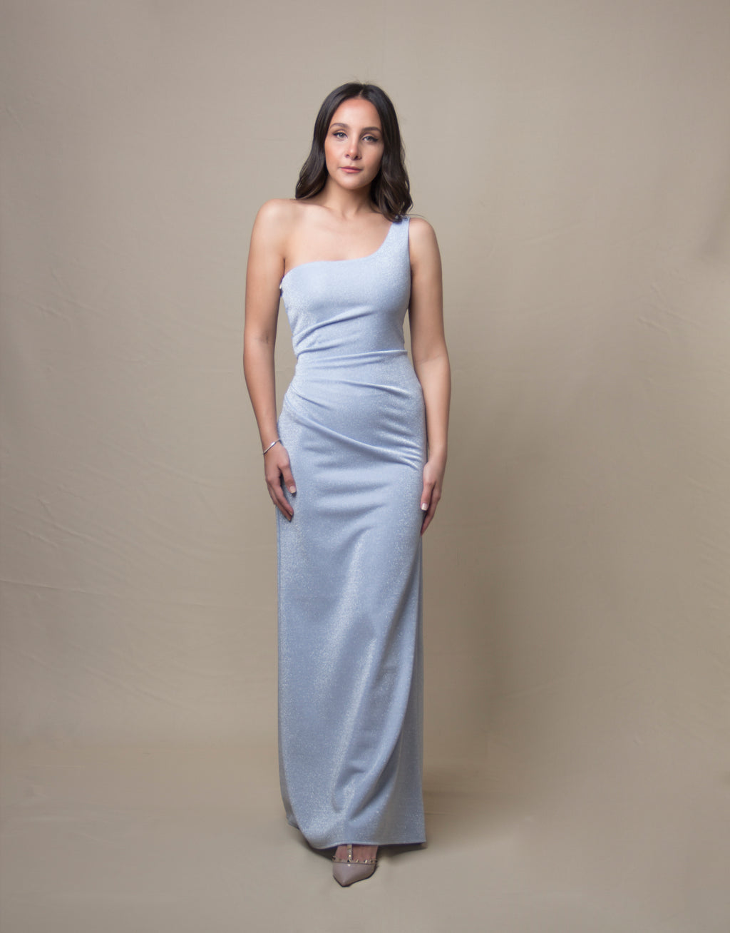 One-shoulder Silver Blue Draped Gown