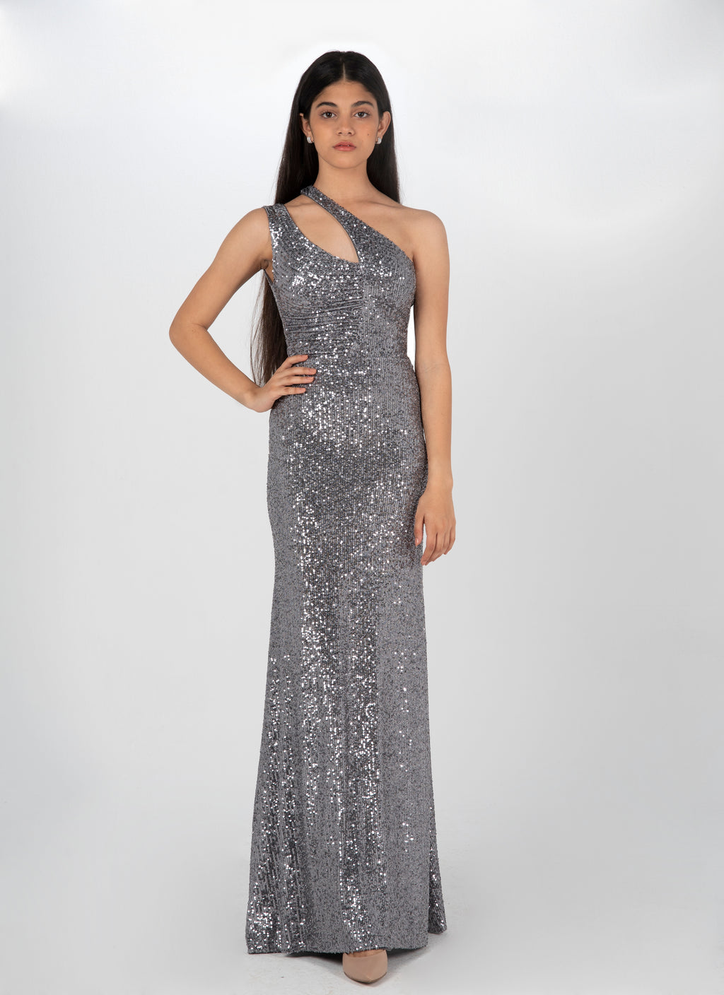 Sequinned Cutout Dress in Silver