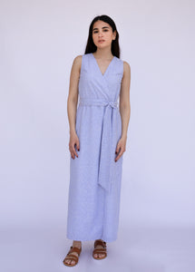 Striped Wrap Linen Dress