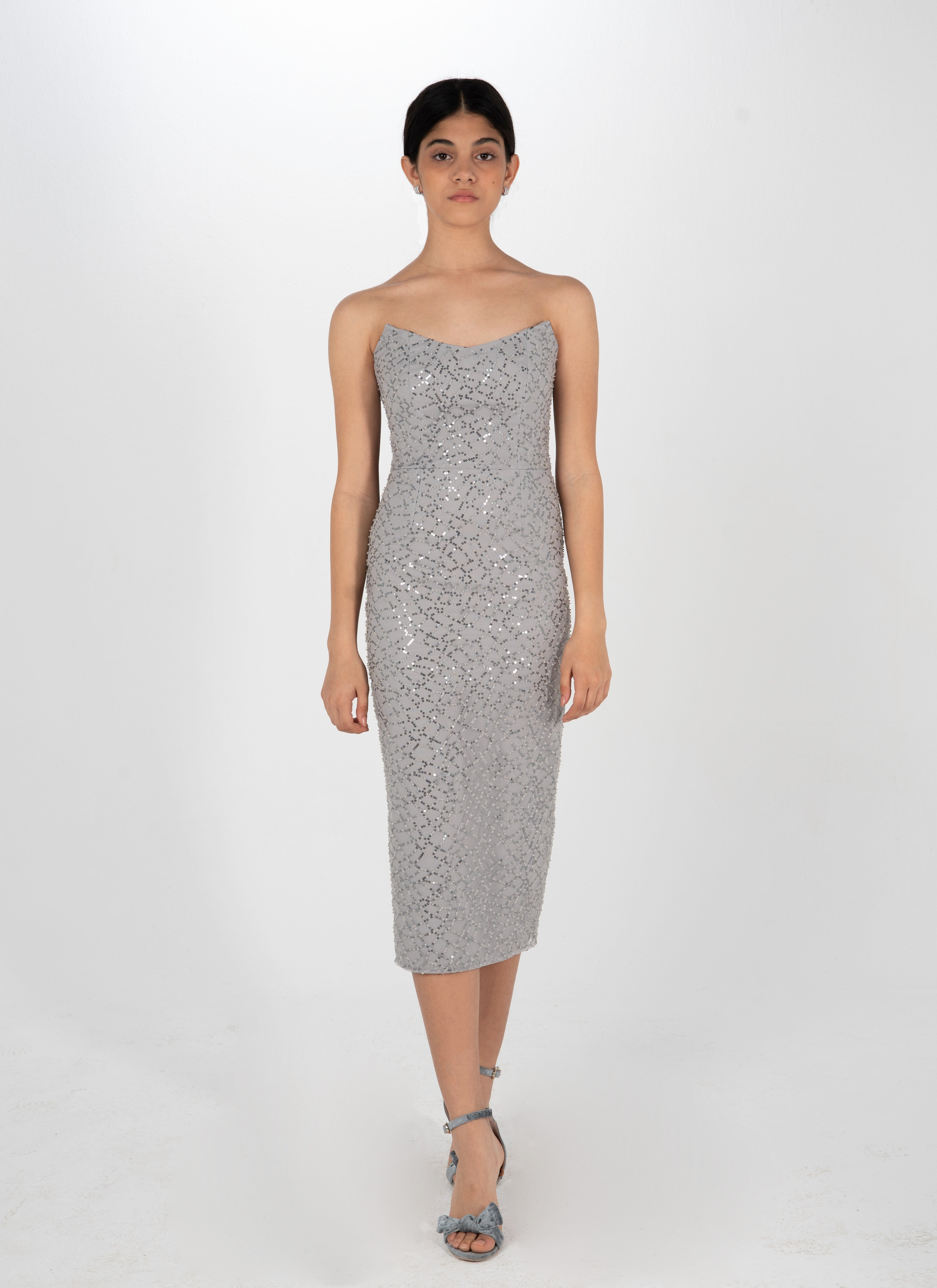 Wonder Beaded Silver Dress
