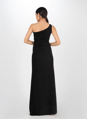 Starry Black Draped Gown