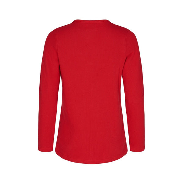 Agatha Long Sleeve V-Neck Pullover - Strong Red