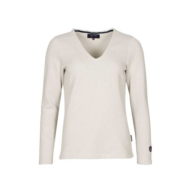 Agatha Long Sleeve V-Neck Pullover - Grey Melange