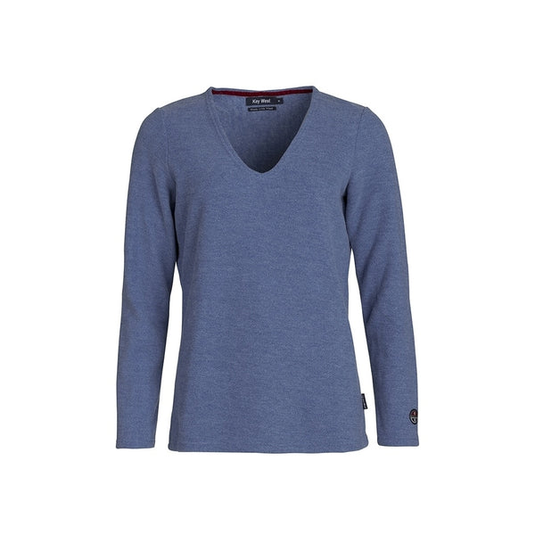 Agnes Long Sleeve V-Neck Sweater - Riverside Melange