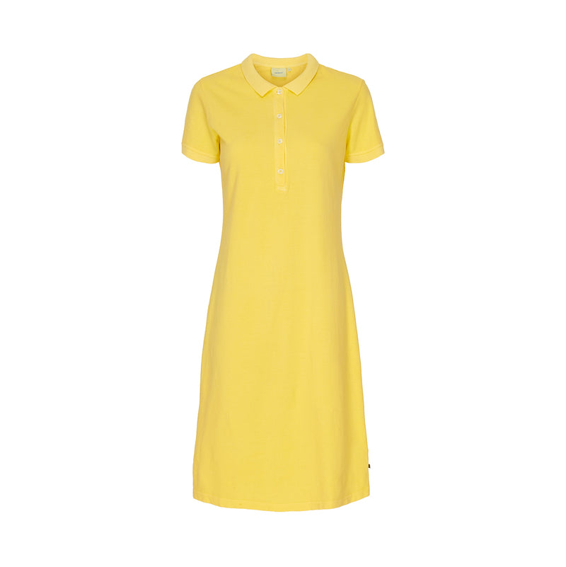 Bettina Short Sleeve Polo Dress - Lemon