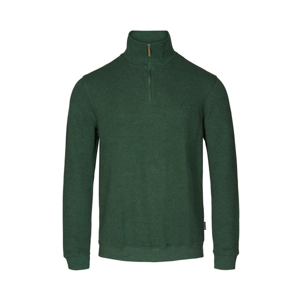 Cromwell Long Sleeve Half Zip Sweater - Green Melange