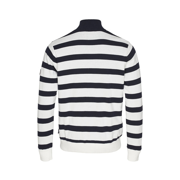 Nathaniel Striped Half Zip Windbreaker - Pearl/Dark Navy