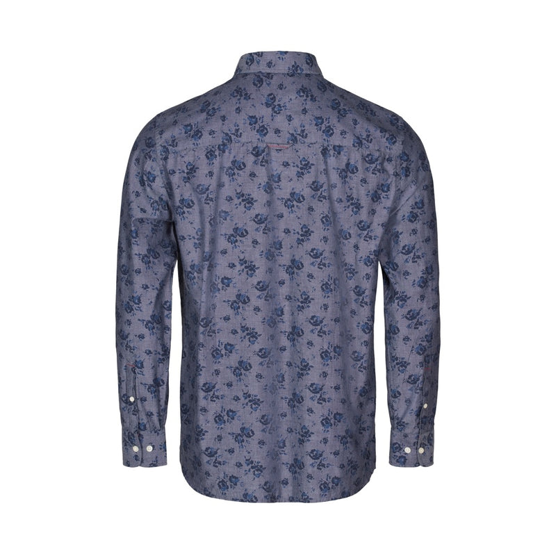 Elton Printed Long Sleeve Shirt - Indigo