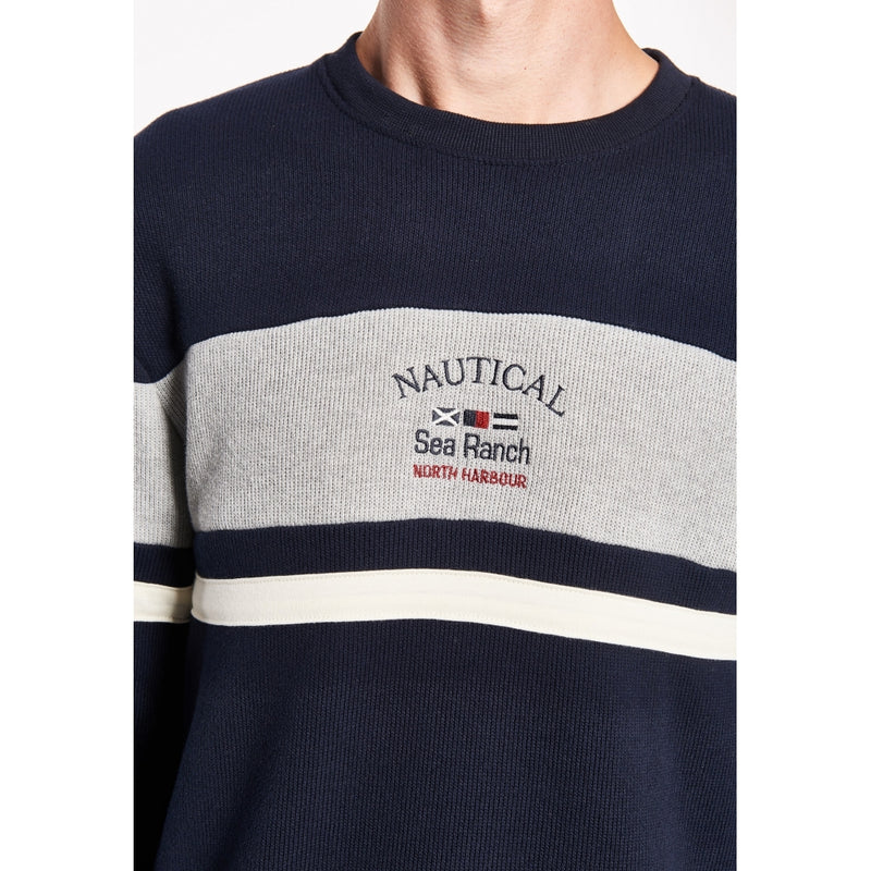 Miki Retro Long Sleeve Sweater - SR Navy / Grey