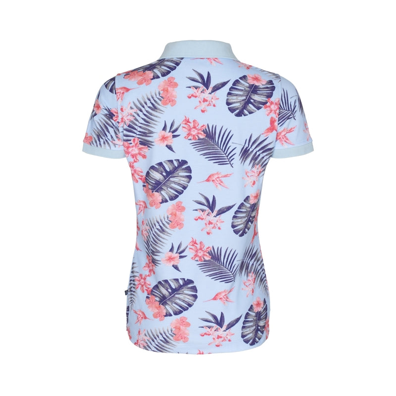 Kayla Printed Short Sleeve Polo - Cool Blue Tropical