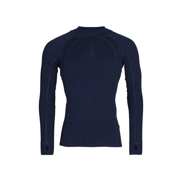 Mens Merino Wool Zip Neck - Navy