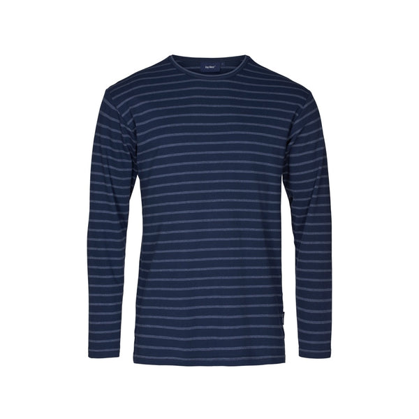 Grenaa Striped Long Sleeve Tee - SR Navy/Navy Melange