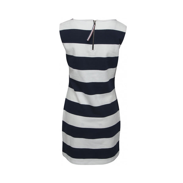 Brittany Striped Sleeveless Dress - SR Navy/Pearl