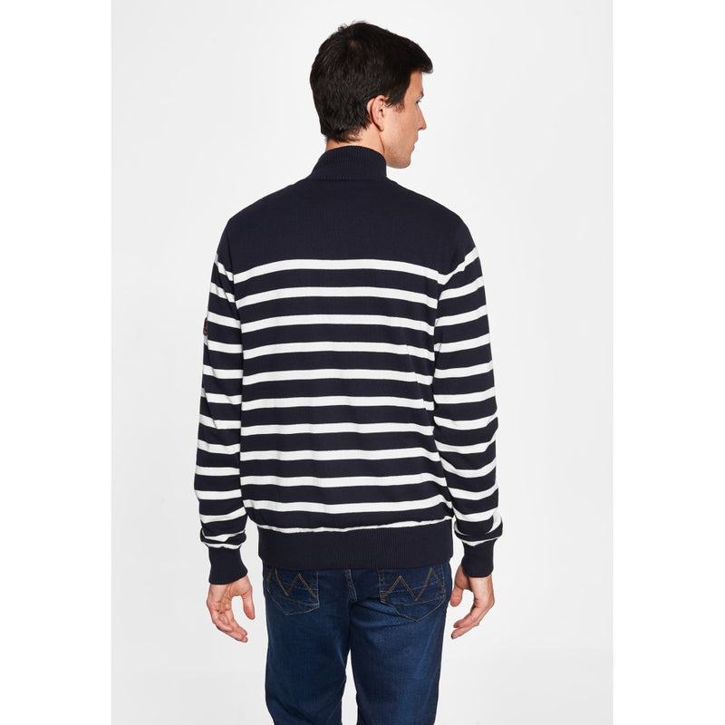 Haakon Striped Knit Cardigan - Windbreaker - Dark Navy/Pearl