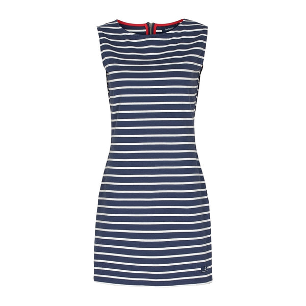 Belinda Striped Sleeveless Dress - SR Navy/Pearl