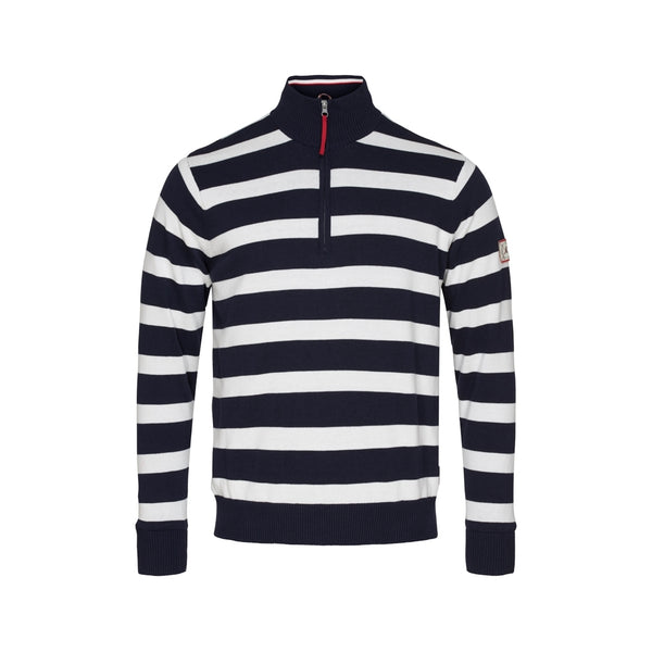 Nathaniel Striped Half Zip Windbreaker - Dark Navy/Pearl