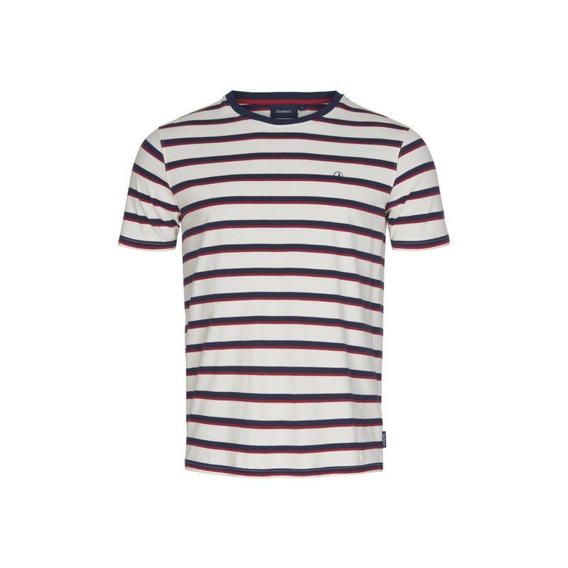 Jess Retro stripe Ringer Tee - Pearl/SR Navy/Red