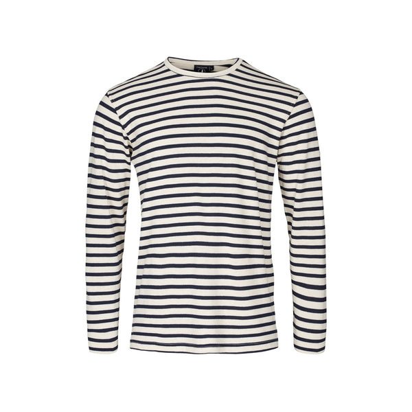 Jaques Striped Long Sleeve Tee - Ecru/SR Navy