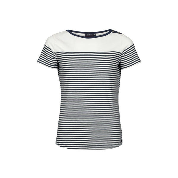Alison Striped Short Sleeve Tee - Pearl/SR Navy