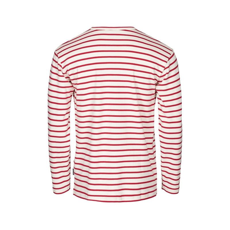Grenaa Striped Long Sleeve Tee - Ecru/SR Red