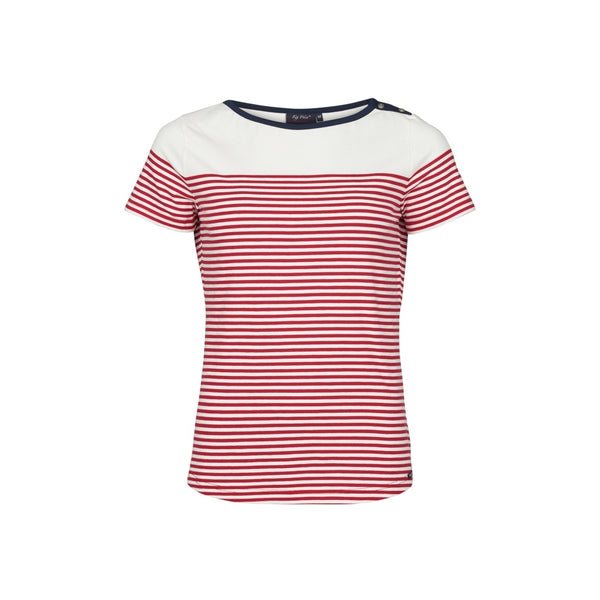Alison Striped Short Sleeve Tee - Pearl/SR Red