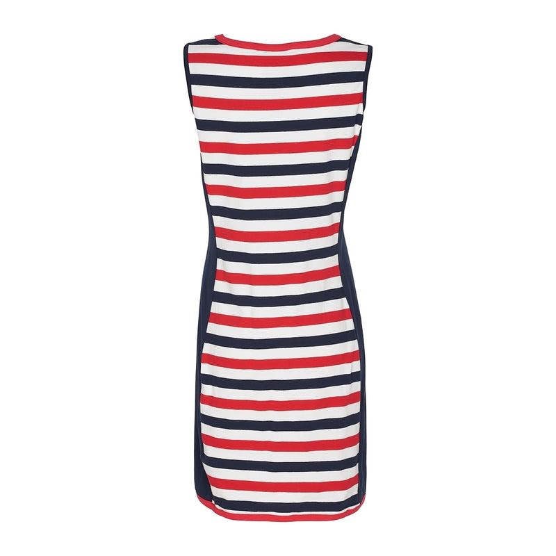 Cordelia Striped Sleeveless Dress - True Red/Pearl/SR Navy