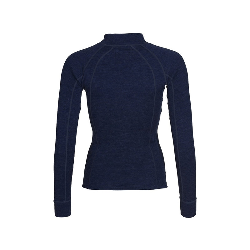 Womens Merino Wool Zip Neck - Navy