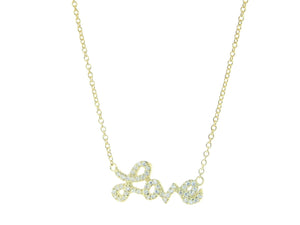 Golden Sparkling Cursive Love Necklace