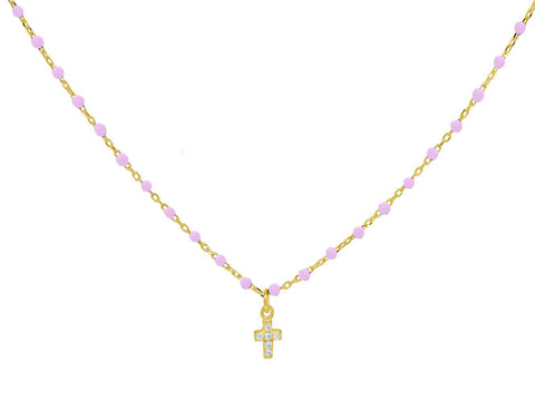 Miniature Pink Enamel CZ Cross Necklace