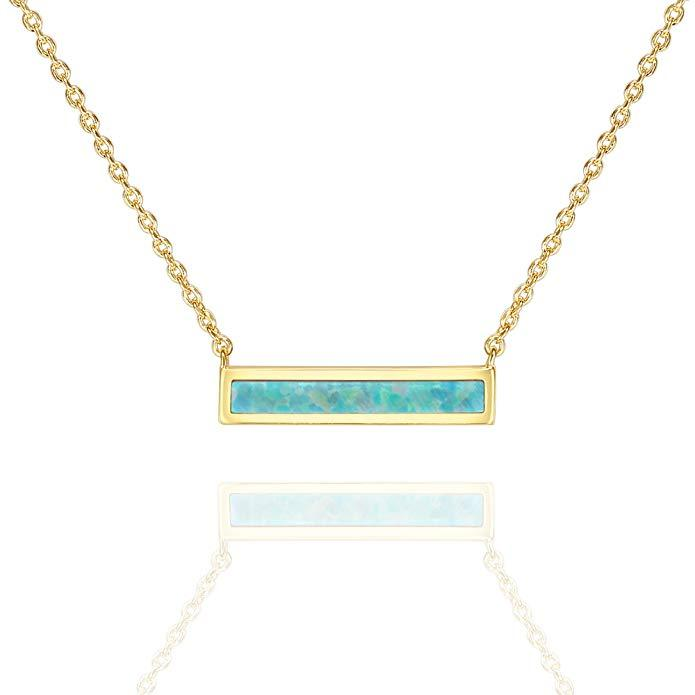 "Opal Created Bar Necklace 18"" - 18K Gold Plated"