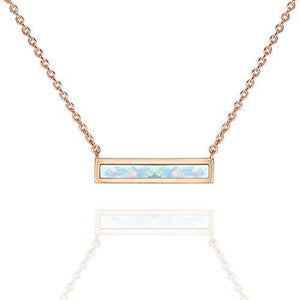 "Opal Created Bar Necklace 18"" - 18K Rose Gold Plated"